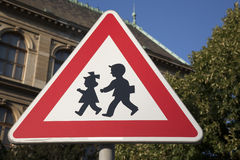 School Warning Sign. In Urban Setting Royalty Free Stock Photography