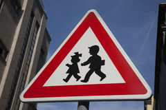 School Warning Sign. In Urban Setting Royalty Free Stock Photo