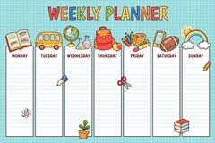 School weekly planner vector illustration