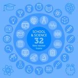 School & Wetenschapspictogrammen Stock Afbeeldingen