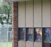 School windows shattered by hail storm Royalty Free Stock Images