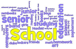 School Word Cloud. School themed word cloud on white background Royalty Free Stock Photography