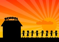 School woth children. Black silhouette of school with children Stock Photography