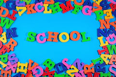 School written by plastic colorful letters Royalty Free Stock Photo