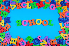 School written by plastic colorful letters Royalty Free Stock Images