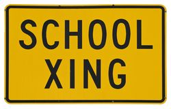 School Xing. Yellow metal road sign isolated on white Royalty Free Stock Images