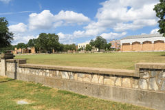 A school yard in Fredericksburg Texas. With a stone wall and plenty of space Stock Image