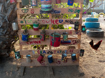 School yard in small village in Mexico. With art created by local kids, and a free range chicken Stock Photo