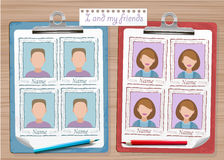 School yearbook and two notes. With photos vector royalty free illustration