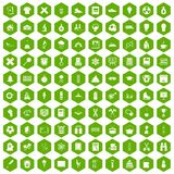 100 school years icons hexagon green. 100 school years icons set in green hexagon isolated vector illustration Royalty Free Stock Images