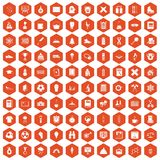 100 school years icons hexagon orange. 100 school years icons set in orange hexagon isolated vector illustration Royalty Free Stock Images