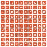 100 school years icons set grunge orange. 100 school years icons set in grunge style orange color isolated on white background vector illustration Stock Photo
