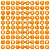 100 school years icons set orange. 100 school years icons set in orange circle isolated on white vector illustration Stock Image