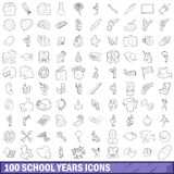 100 school years icons set, outline style Royalty Free Stock Images
