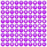 100 school years icons set purple. 100 school years icons set in purple circle isolated on white vector illustration vector illustration