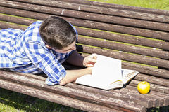 School.Young boy reading a book in the Park Bench, summer Stock Photography
