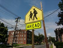 School Zone Ahead Sign. On Union Avenue near Irving Place in Rutherford, New Jersey, USA. This photo was taken on August 11th 2017 royalty free stock image