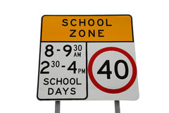 School Zone Sign. Isolated on white royalty free stock photos