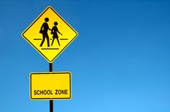 School zone sign royalty free stock photo