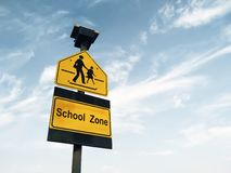 School zone sign. Against sky background royalty free stock images