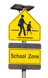 School Zone Sign. School Zone Sign Isolated On White Royalty Free Stock Photography