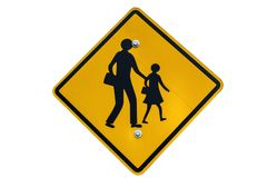 School zone sign isolated on white background. School zone sign post isolated on white background Royalty Free Stock Images