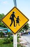 School zone sign post at countryside. School zone sign post with sky, tree, road, and house at countryside Royalty Free Stock Photo