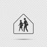 School Zone Sign on transparent background. School Zone Signs on transparent background stock illustration