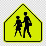 School Zone Sign on transparent background vector illustration