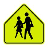 School Zone Sign on white background vector illustration