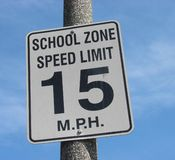 School zone speed limit sign Royalty Free Stock Photos