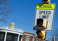 School zone speed sign Royalty Free Stock Photos