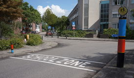 School zone. A school zone in the town of Maarssen in the Netherlands Royalty Free Stock Photo