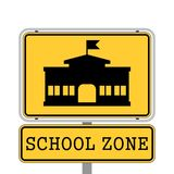SCHOOL ZONE yellow road sign. On white background vector illustration
