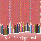 Schoolachtergrond met potloden Stock Afbeelding