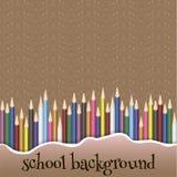 Schoolachtergrond met potloden Stock Fotografie