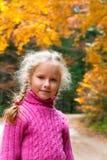 Schoolage girl autumn outdoor portrait Stock Photos