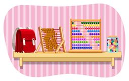 Schoolbag and abacus on shelf. Illustration Royalty Free Stock Photography