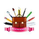 Schoolbag and drawing tools, back to school concept Stock Image
