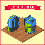 Schoolbag flat isometric. Knapsack vector. Icom. Flapacksack flat pictorgram. Haversack on wooden floor vector illustration. Flat satchel. Rucksack vector Royalty Free Stock Photo