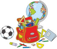 Schoolbag, globe and ball Royalty Free Stock Photography