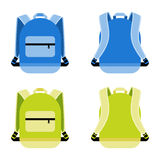 Schoolbag icon. Set. Satchel and container, daily portable knapsack, vector illustration Royalty Free Stock Images