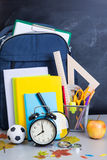 Schoolbag near the teacher's board Royalty Free Stock Images