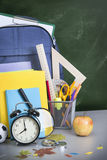 Schoolbag near the teacher's board Royalty Free Stock Image