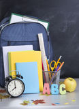 Schoolbag near the teacher's board Royalty Free Stock Photography