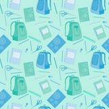 Schoolbag, notatnik, gumka, ołówki, władca Obrazy Royalty Free