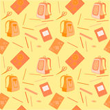 Schoolbag, notatnik, gumka, ołówki, władca Zdjęcia Royalty Free