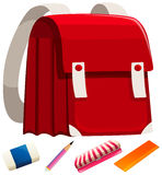 Schoolbag and other stationaries Royalty Free Stock Images