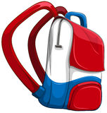 Schoolbag in red and blue Royalty Free Stock Image
