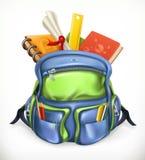 schoolbag Ryggsäck med skolatillförsel, vektorsymbol stock illustrationer